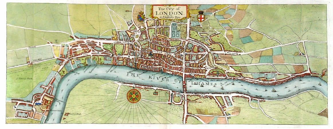 Stow, J. / Strype, J. 'THE CITY OF LONDON AS IN Q. ELISABETH'S