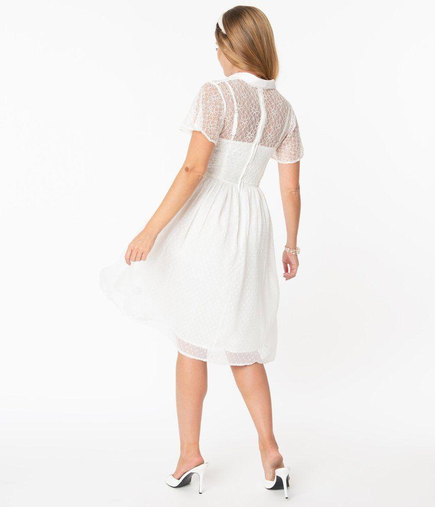 Vintage Style White Lace Flocked Naomi Swing Dress Unique Vintage Vintage Inspired Wedding Dresses Bridal Dresses Vintage Swing Dress [ 1023 x 879 Pixel ]