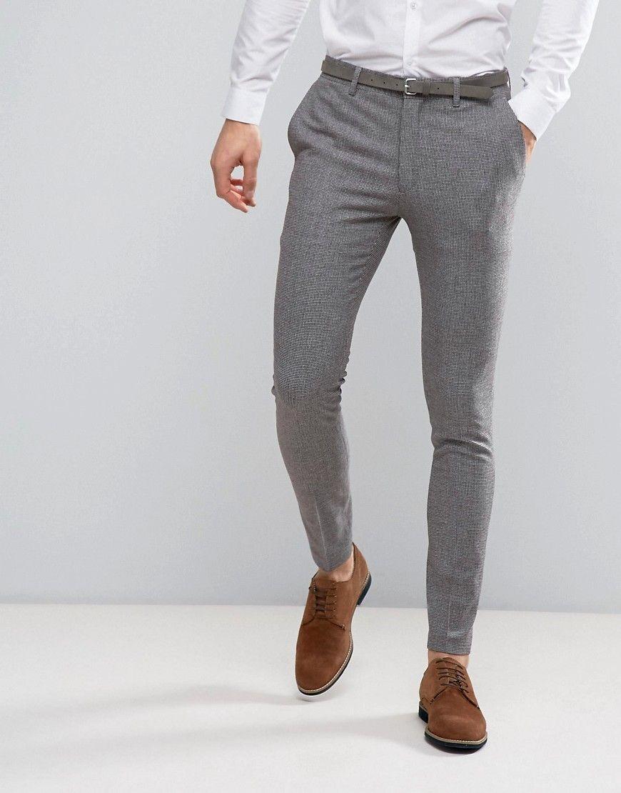 Asos Wedding Super Skinny Suit Pants In Mini Check In Gray Gray Pants Outfit Men Skinny Pants Men Mens Fashion Suits [ 1110 x 870 Pixel ]