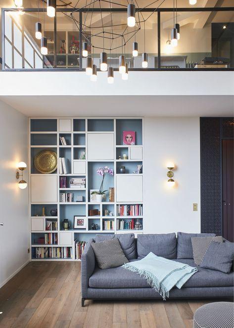 Coin Bibliotheque Dans Un Salon Double Hauteur Appartement