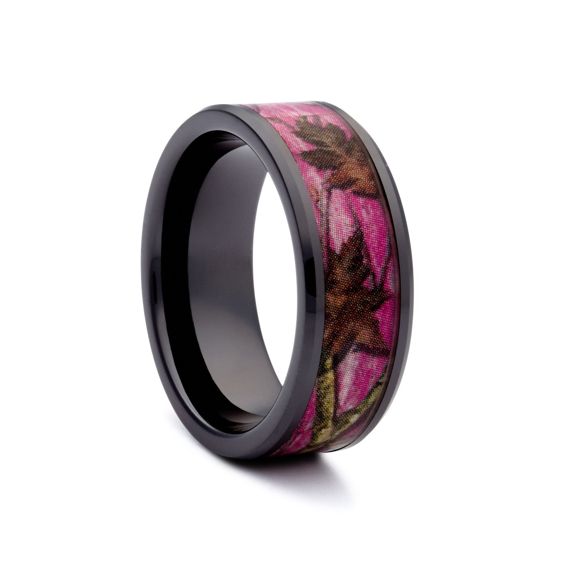 Black Pink Camo Wedding Ring Ceramic Camouflage Ring Camo