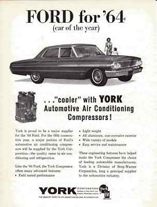 1964 Ford Galaxie 500 Original York Air Conditioning Ad Ford