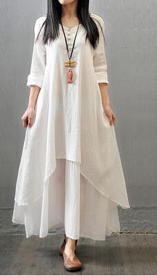 37b694f0c4 2017 Spring Autumn Women Dress Vintage Cotton Linen Plus Size Loose Plus  size Dress Vestidos Elbise M-5XL Size