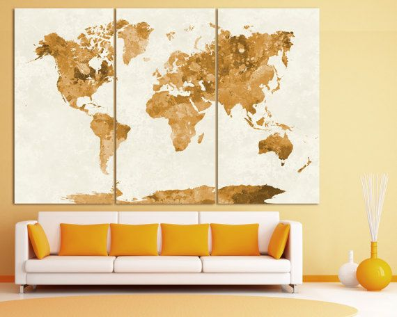 Large Vintage Watercolor World Map Poster Print, Grunge World Map ...