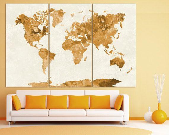 Large Vintage Watercolor World Map Poster Print, Grunge World Map ...