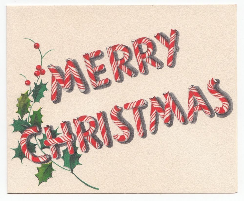 Vintage Greeting Card Merry Christmas Typography Font Peppermint ...