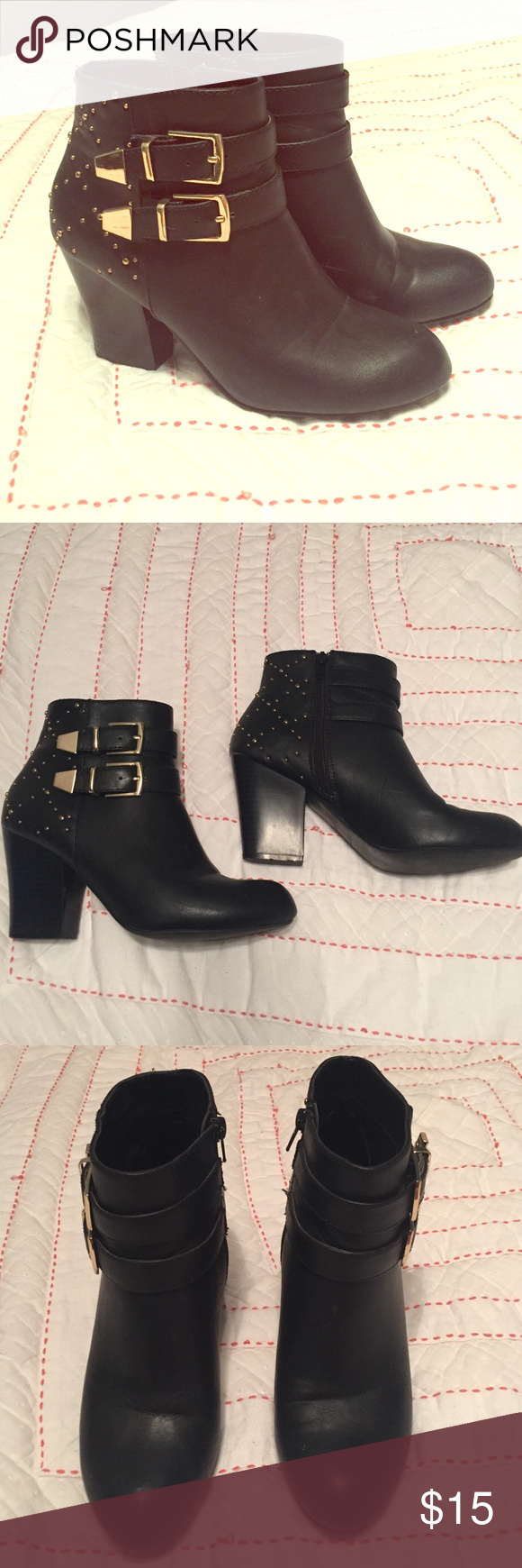 Gold buckle studded heeled booties Black heeled booties with zipper. Have gold buckles and the back heel is gold studded. Light wear on them but in great shape. There are a few light scuff marks on the inside of them, but they are not very noticeable. Outside heel of left shoe has a white scuff mark. Charming Charlie Shoes Ankle Boots & Booties