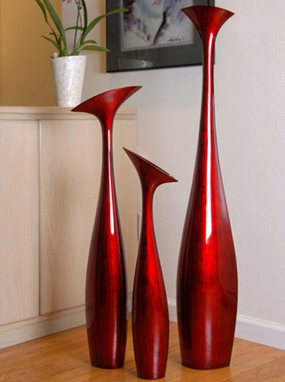 Tall Flower Vase Large In Red Black By Hebi Arts Floor Vase