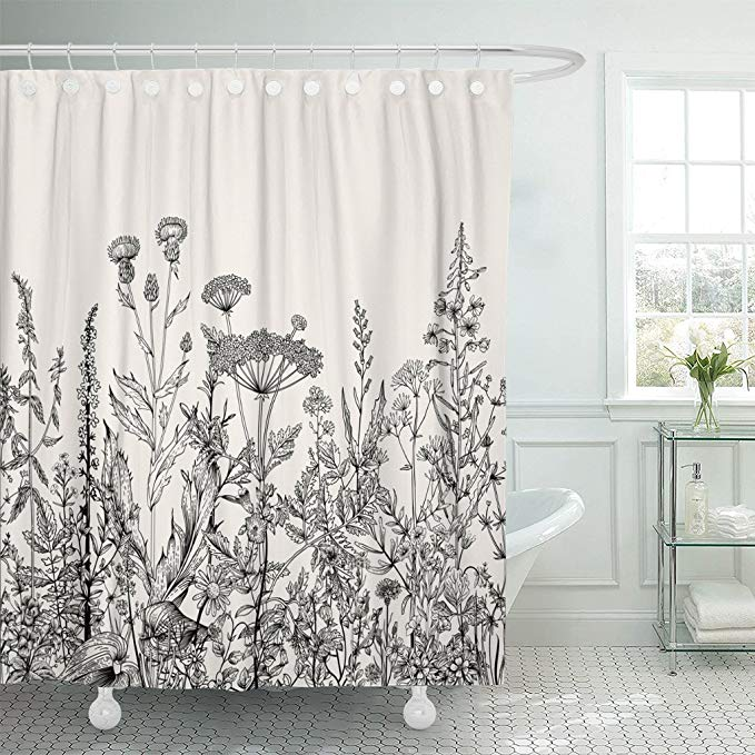 Amazon Com Emvency Shower Curtain Floral Border Herbs And Wild