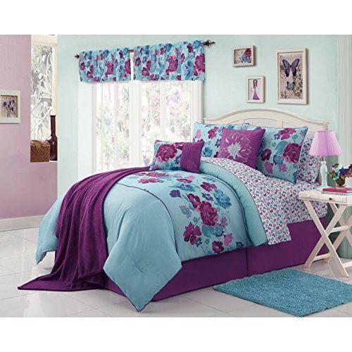Amazing Modern Teen Bedding Beautiful Girls Kids Full Size Comforter 13 Piece Set  Blue Purple Floral Bed