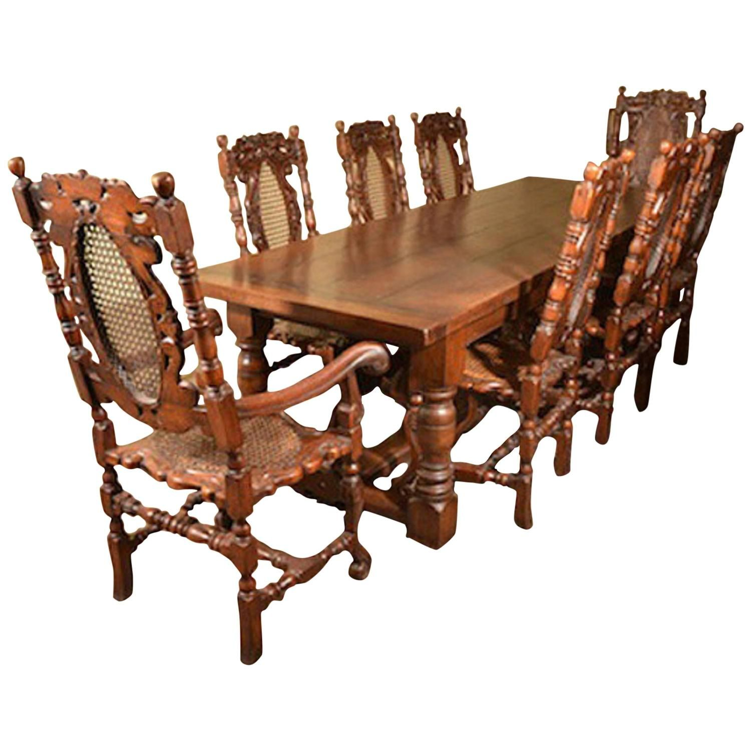Solid Oak Refectory Dining Table And Eight Carolean Chairs  Solid Oak Amazing Dining Room Sets Solid Wood Inspiration