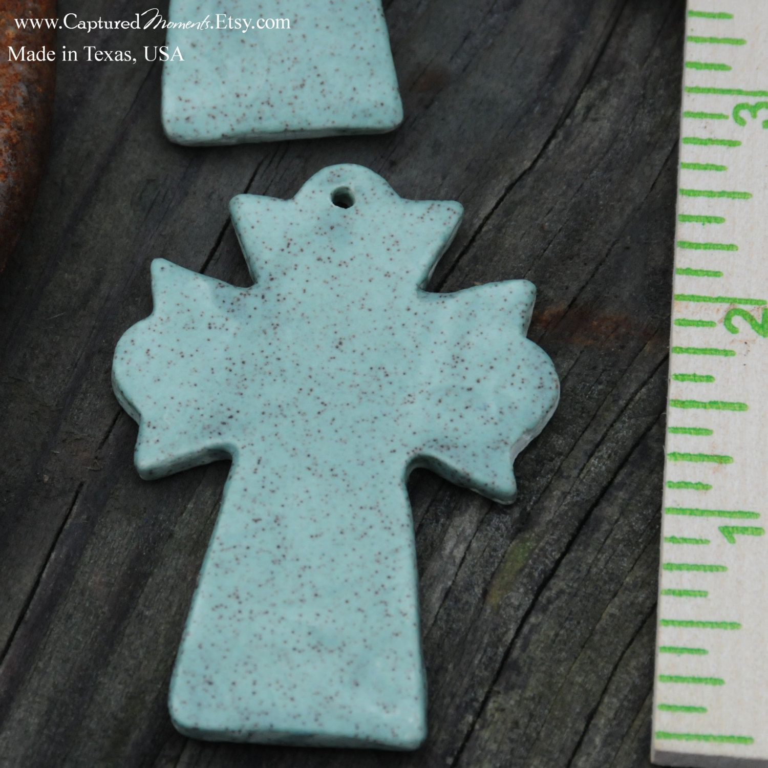 Old Rugged Pottery Cross PENDANT Bead in Sage Green by CapturedMoments on Etsy