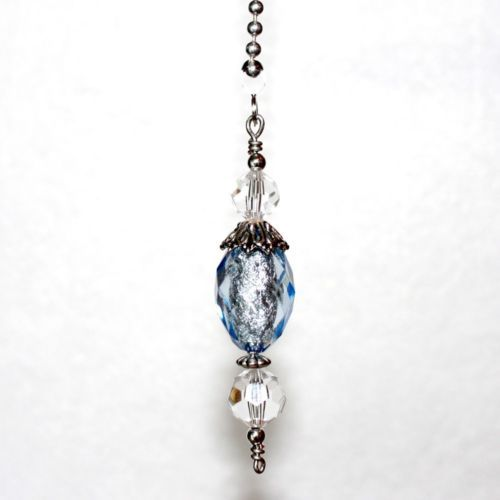 Decorative Light Pull Chain Brilliant Sparkle Blue Crystal Cut Decorative Ceiling Fan Pull Light Lamp Pull