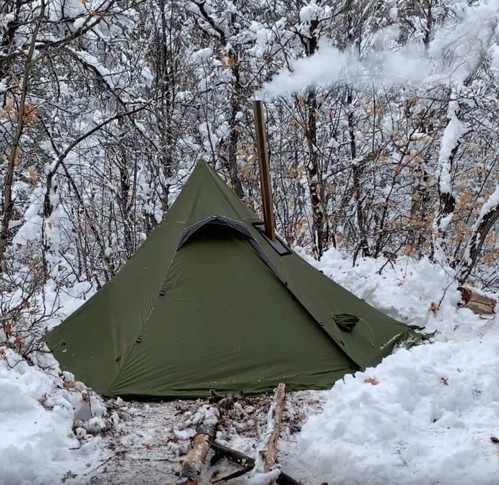 Xl Winter Hexpeak Xl Tipi 3w Stove Winter Camping With Axe Video Tent