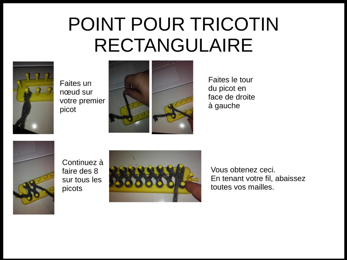 Tricotin rectangulaire tricotin pinterest tricotin - Les differents points au tricotin ...