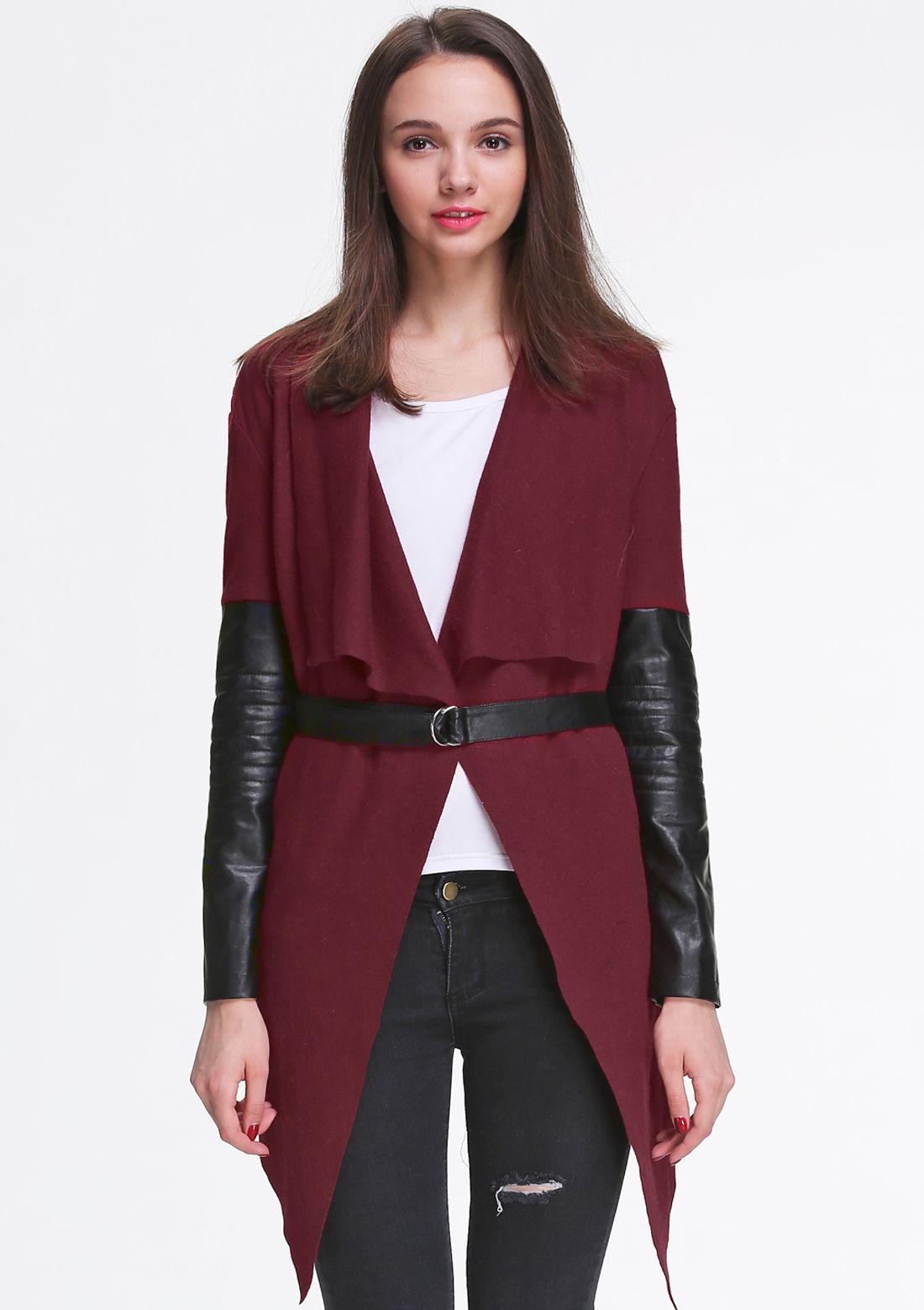 Wine Red Contrast Pu Leather Asymmetric Belt Outerwear Outerwear Wine Red Pu Leather