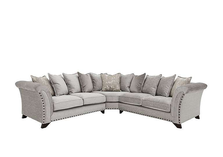 Holly 3 Seater Pillow Back Fabric Sofa With Studs Corner Sofa Corner Sofa Pillows Grey Corner Sofa