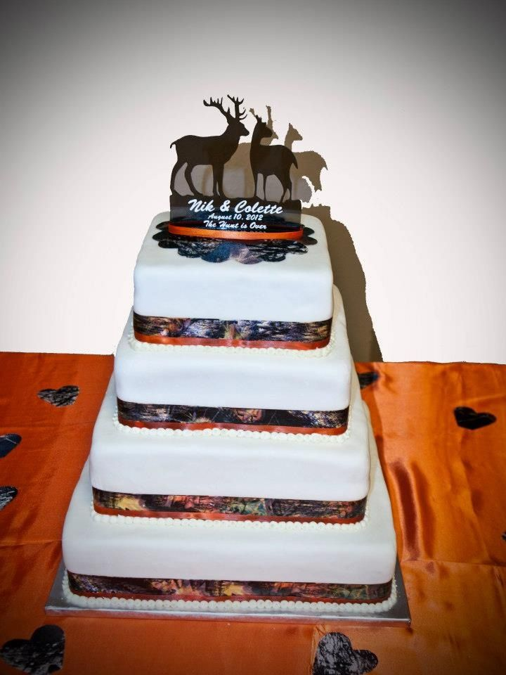 Camo And Orange Wedding Cake