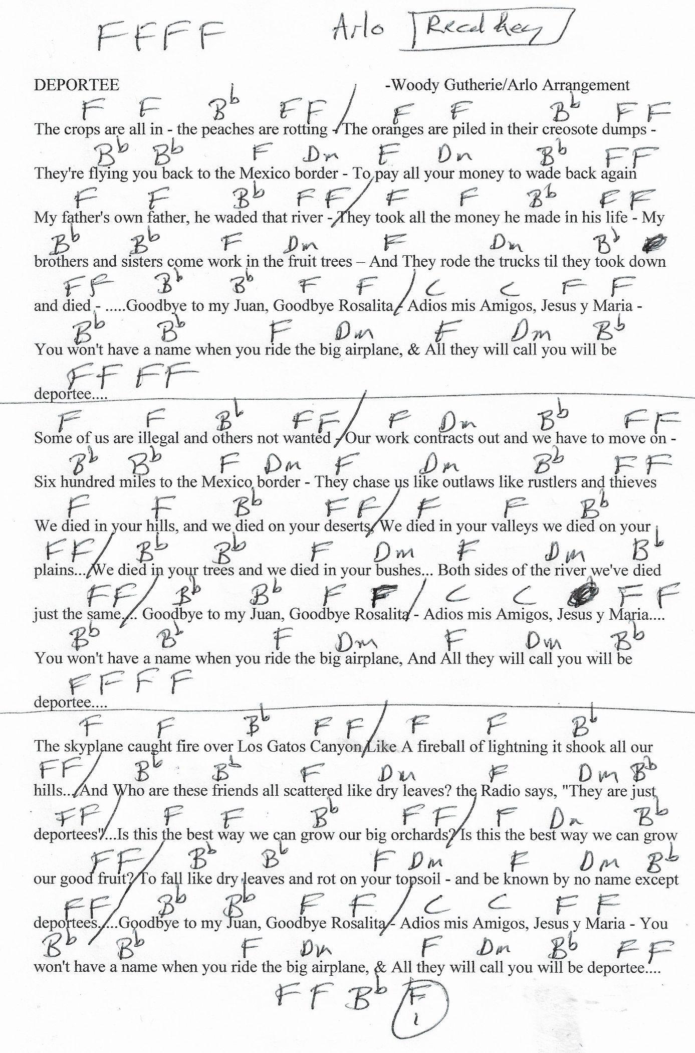 Deportee woody guthriearlo arrangement guitar chord