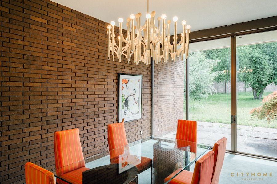 Perfect Mid Century Modern Dining Room, Mid Mod Chandelier, Upholstered Dining  Chairs, Orange Stripe