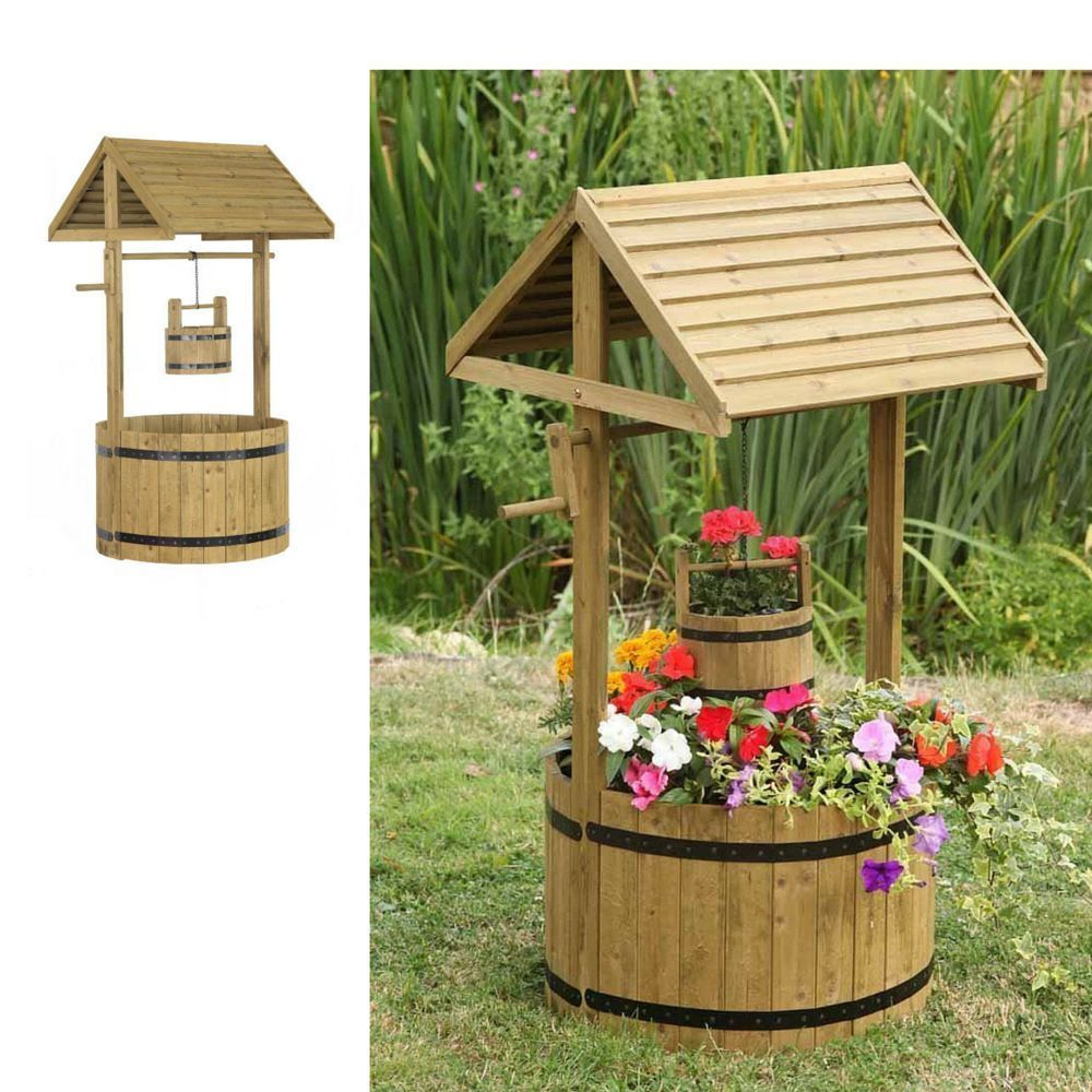 Outdoor Garden Decoration Wooden Rustic Plant Stand Planter Large ...