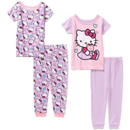 Hello Kitty Baby Infant Girl Cotton Tight Fit Short Sleeve Pajamas, 4-Pieces, Size: 9 Months, Purple
