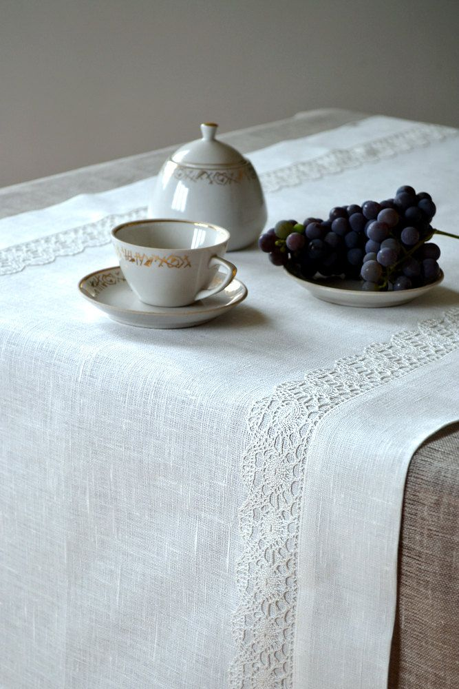 Table Runner / Placemat For Two   Tracery White Linen Lace. $32.00, Via  Etsy.