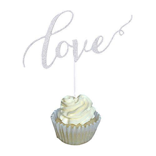 Aisila Pack of 20 Glitter Paper Love Wedding Cupcake Topper Silver Love 1 ** Read more reviews of the product by visiting the link on the image.