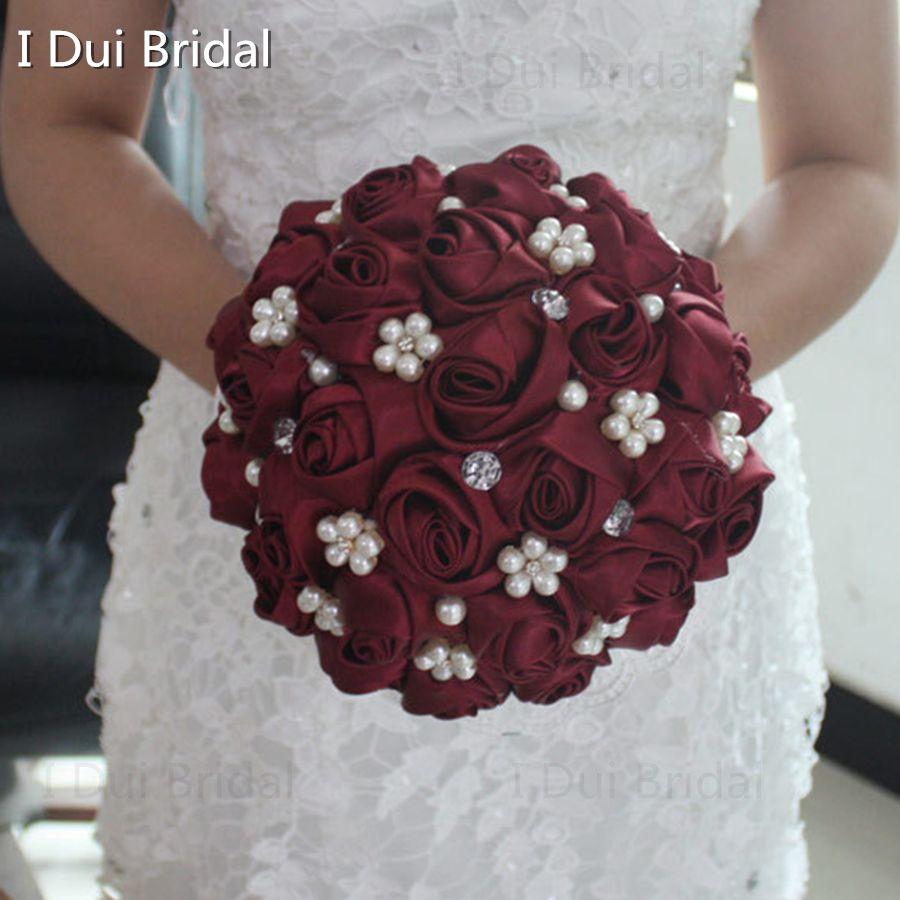 Wedding accessories pearls flowers pearls - Burgundy Bridal Bouquet Hot Sale Satin Rose Flower Crystal Pearl Beaded Wedding Accessory Beautiful Buque De