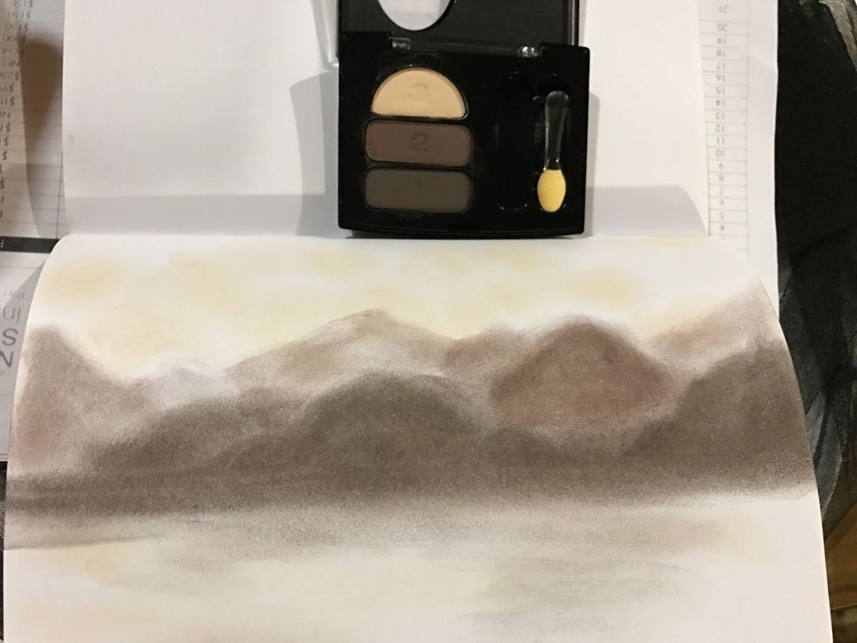 Day 159 - #Make365 something using makeup. Good thing I had this unopened eye shadow from 1998 (yeah I don't wear makeup these days). Finger-painted landscape.
