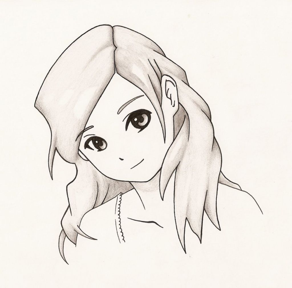 Simple Anime Character Pencil Sketch