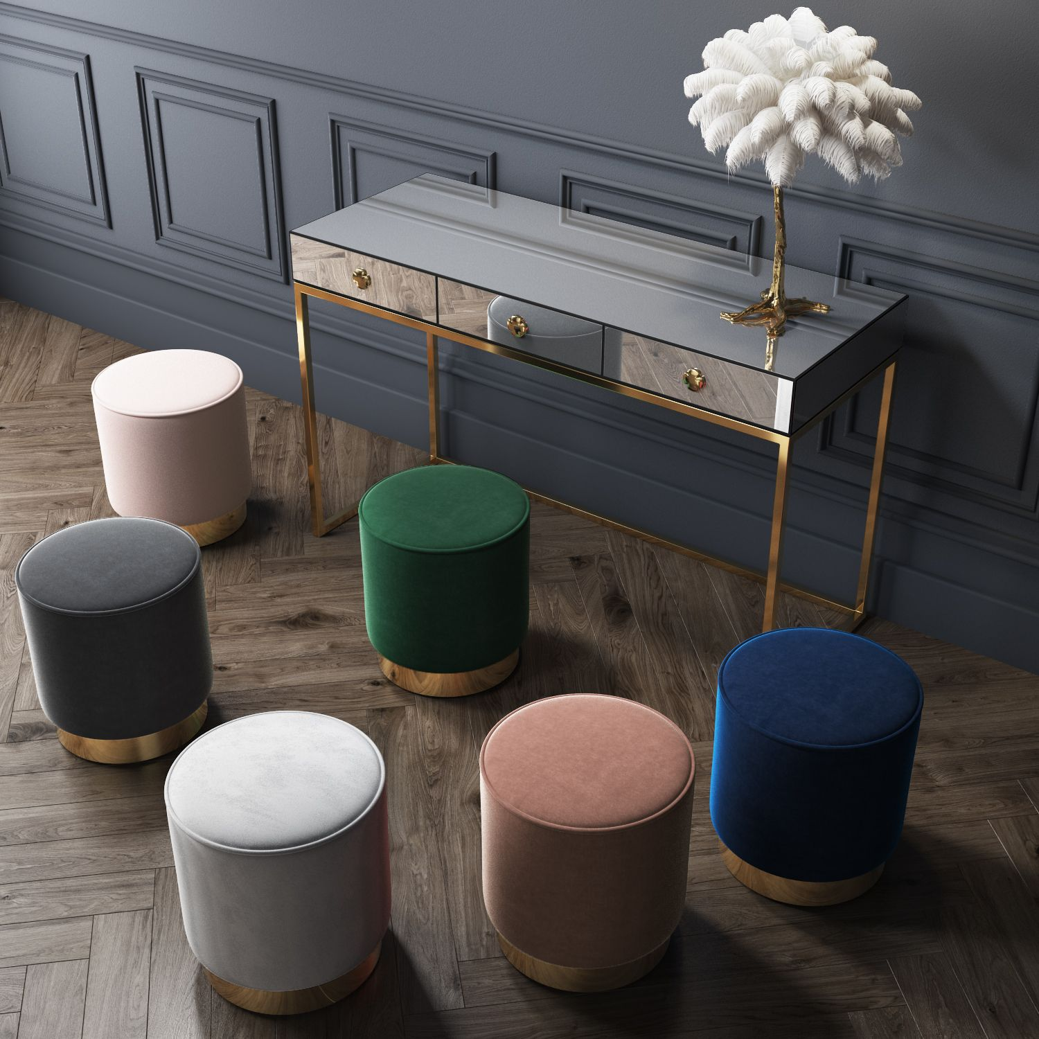 Xena Velvet Pouffe Footstool With Gold Brass Base In Dark Green Xen004 Blush Pink Navy Royal Blue Lig Brass Living Room Upholstered Stool Jewel Living Room