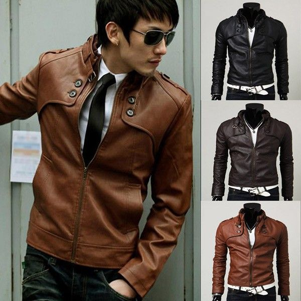 Fashion Button Decoration Coat Men PU Leather Jacket via martEnvy. Click on the image to see more!