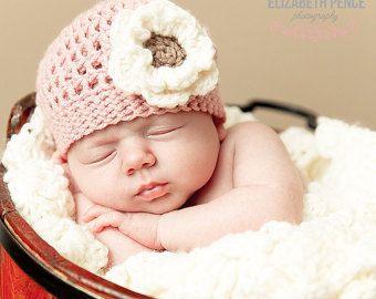 Pink Baby Girl Hat, Crochet Baby Hat, Toddler Girl Hat, Girl Beanie, Crochet Flower Hat, Baby Girl Beanie, Pink Baby Beanie,  Baby Hat