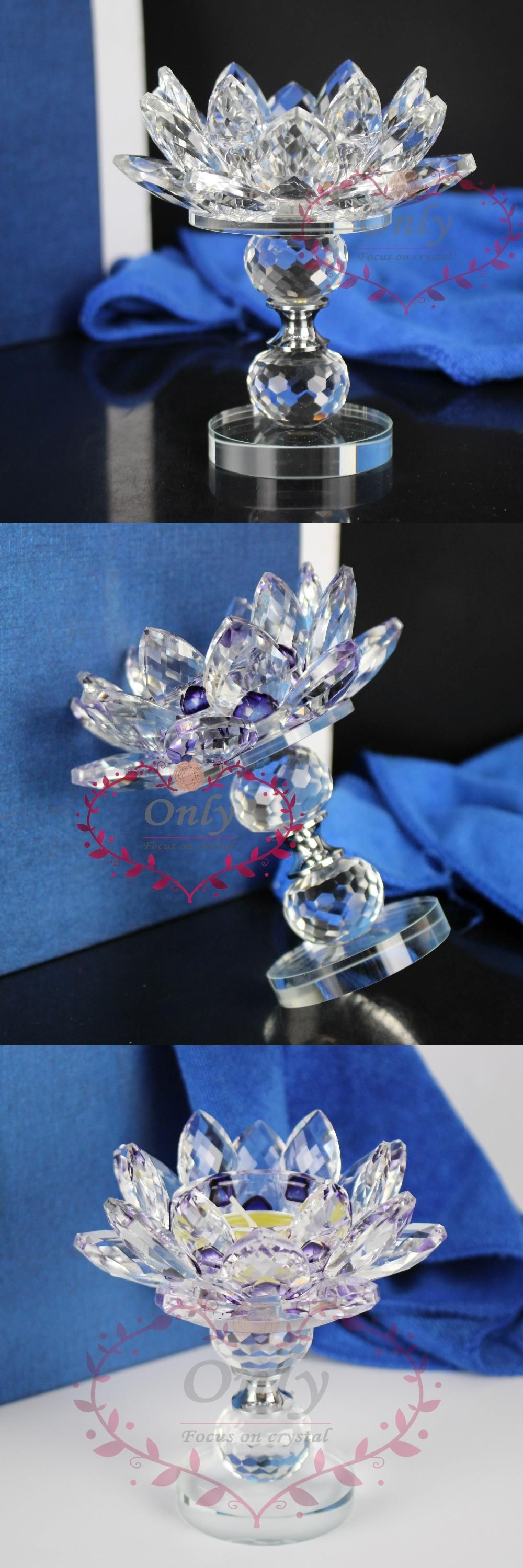 Free Shipping High Quality Long Stem Crystal Lotus Flower Tea Light