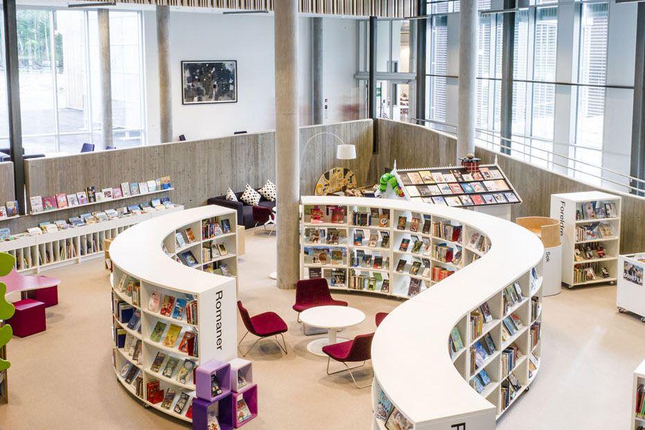 curved, low shelving | Arkitektur | Pinterest | Modern library