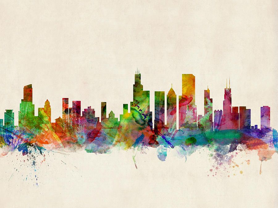 Chicago city skyline by michael tompsett canvas wall art