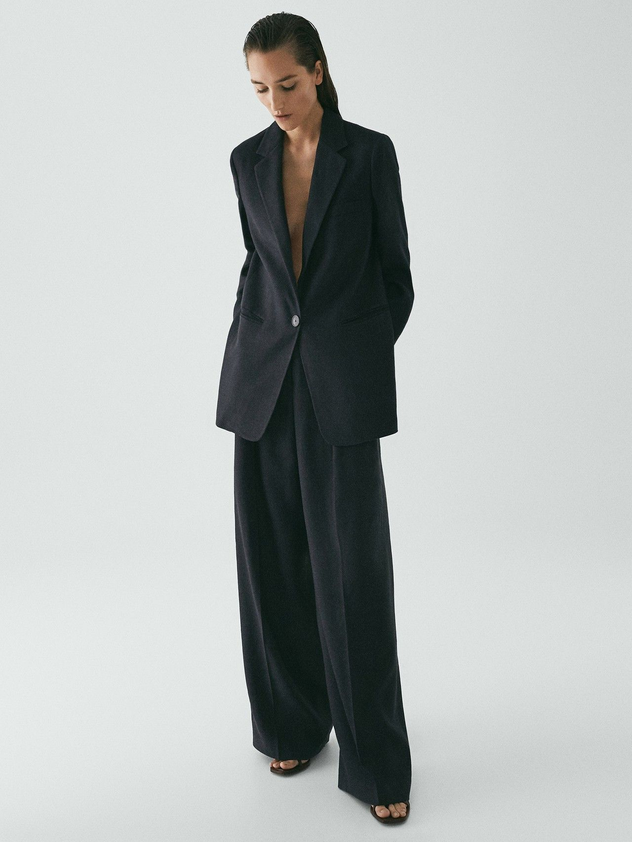 Photo of Massimo Dutti – WOMEN – LIMITED EDITION NAVY PALAZZO TROUSERS – DEEP BLUE – 38