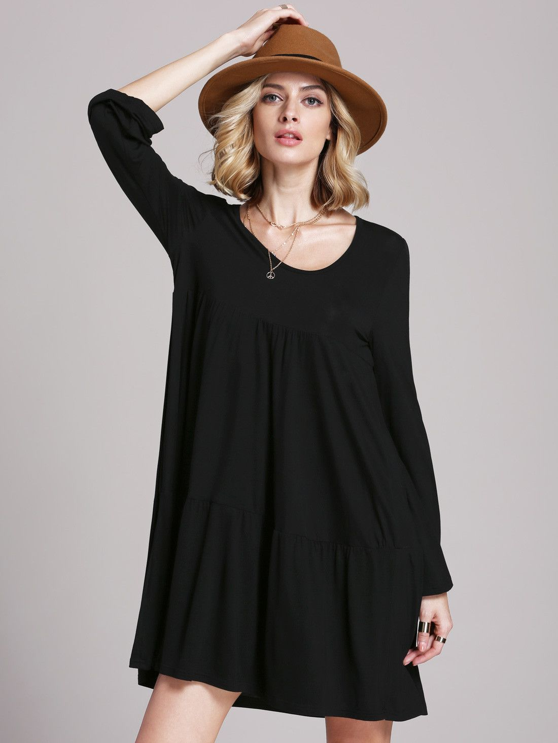 bce4117cd5 Black Lbd Ribbed Baggy Long Sleeve Loose Dress