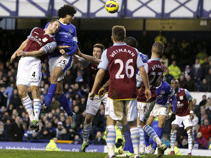 2 February 2013 Marouane Fellaini meets a Leighton Baines corner to earn a 3-3 draw at home to Villa