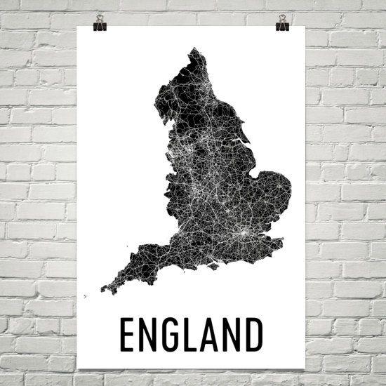 England Map Map Of England England Print England Wall Art Etsy England Map Map Art London Wall Art