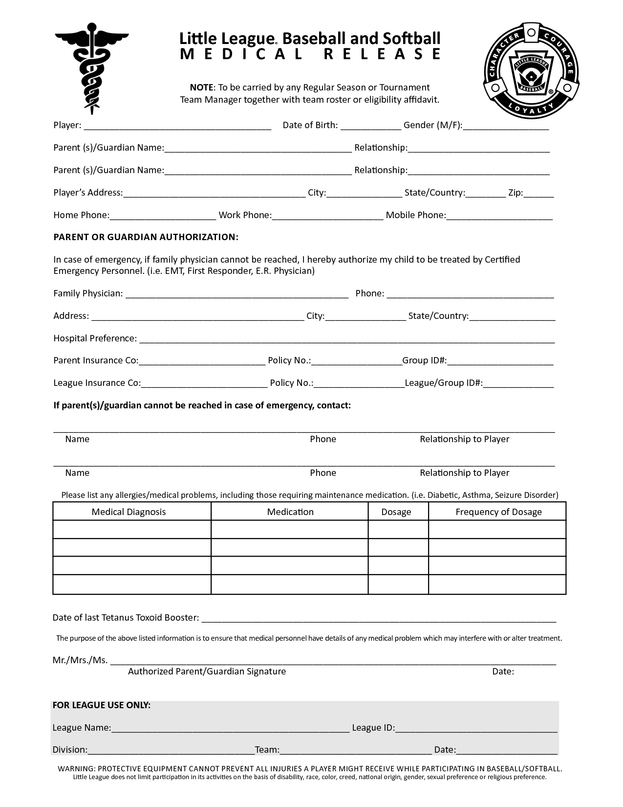 Free Printable Medical Release Forms – Printable Medical Release Form for Children