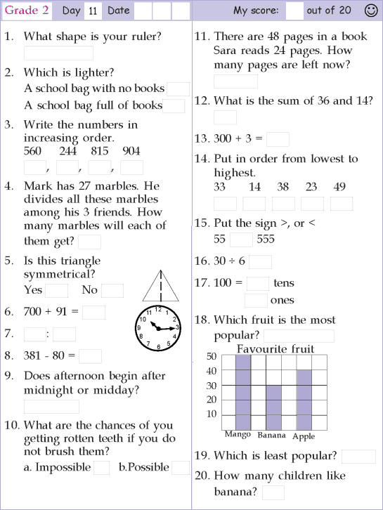 Mental Math Grade 2 Day 11 Mental Math Mental Math Math Pages Mental Maths Worksheets