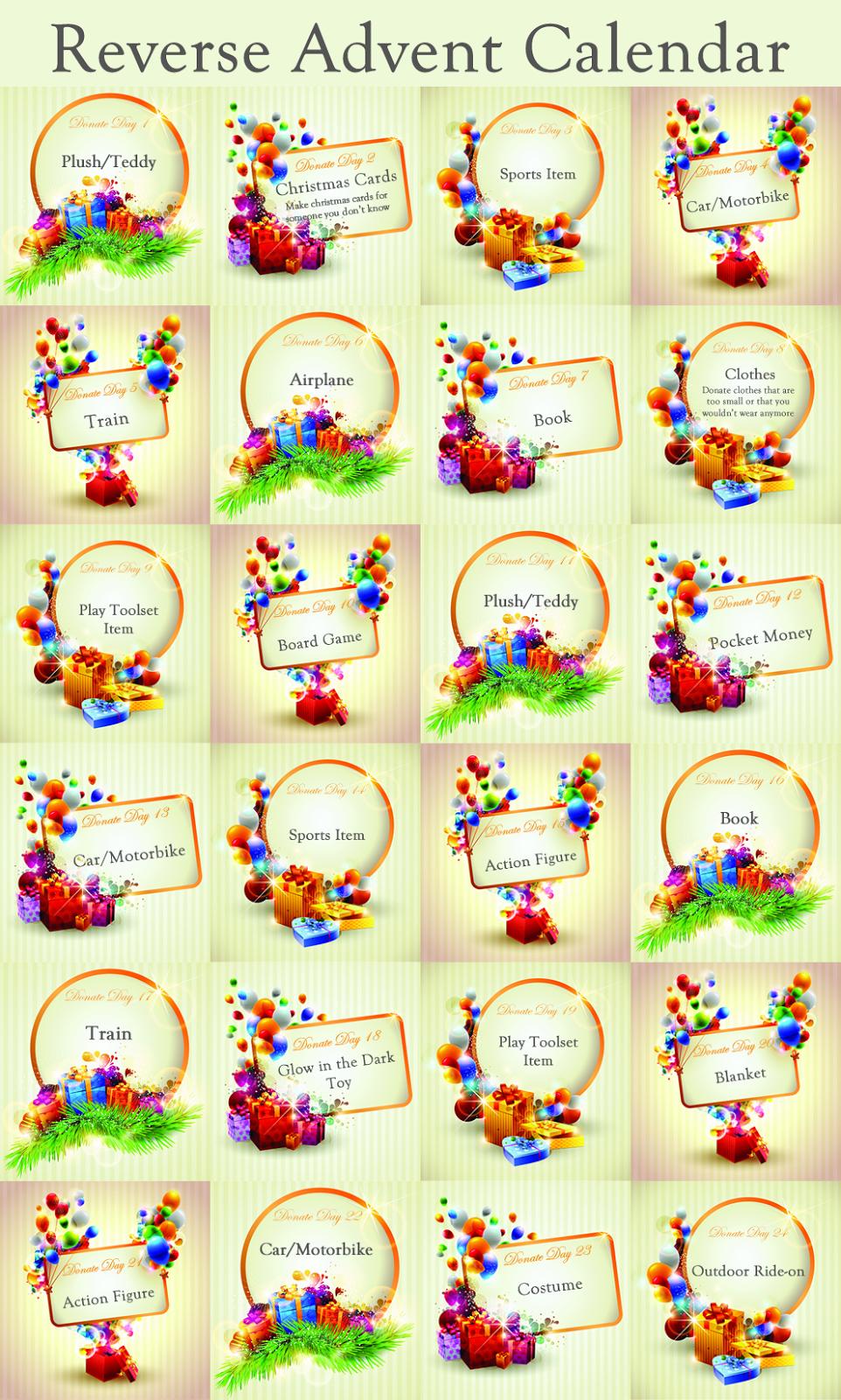 Reverse Advent Calendar Ideas : Reverse advent calendar instead of giving kids small