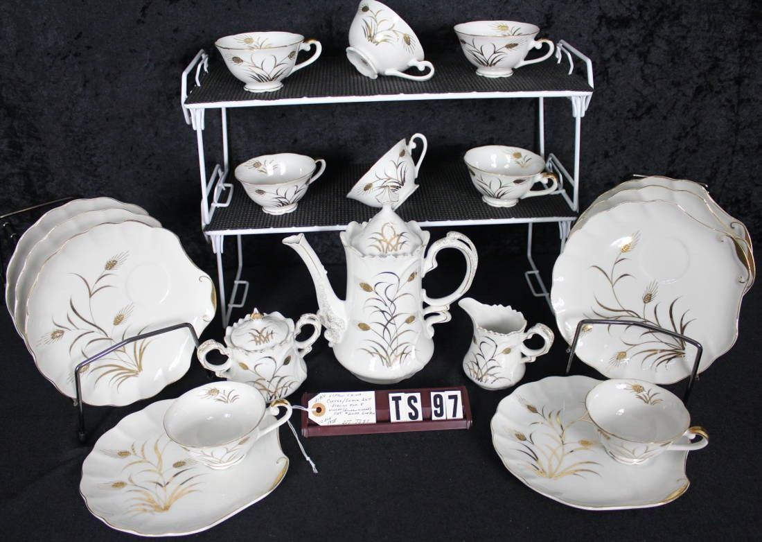 Lefton Fine China Wheat Pattern 20183 Vintage Hand Painted Coffee Snack Set TS97