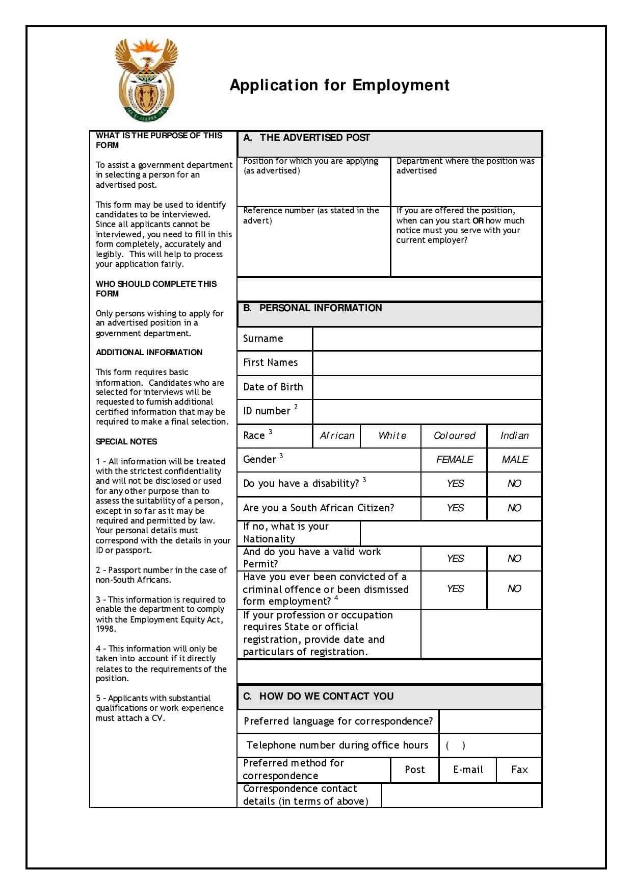 Download Employment Application Form Download Z83 Form Application