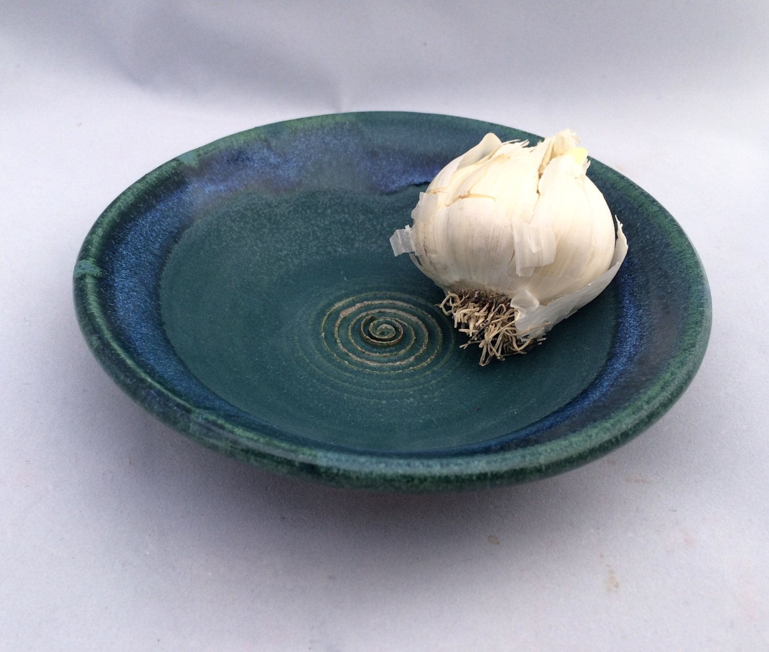 Stoneware pottery garlic grater dish, green and blue glaze- perfect for bread dipping in garlic and oil - pinned by pin4etsy.com