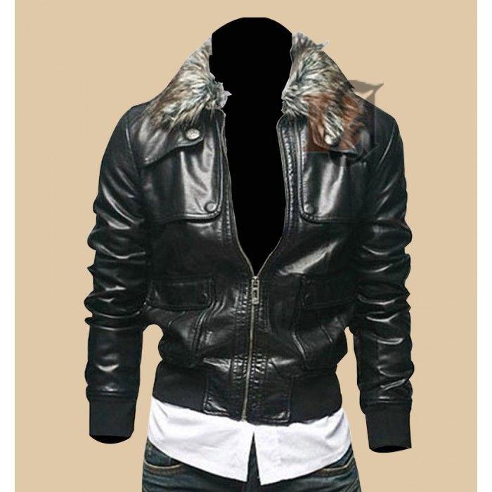 Men S Leather Biker Jacket With Faux Fur Collar Biker Leather