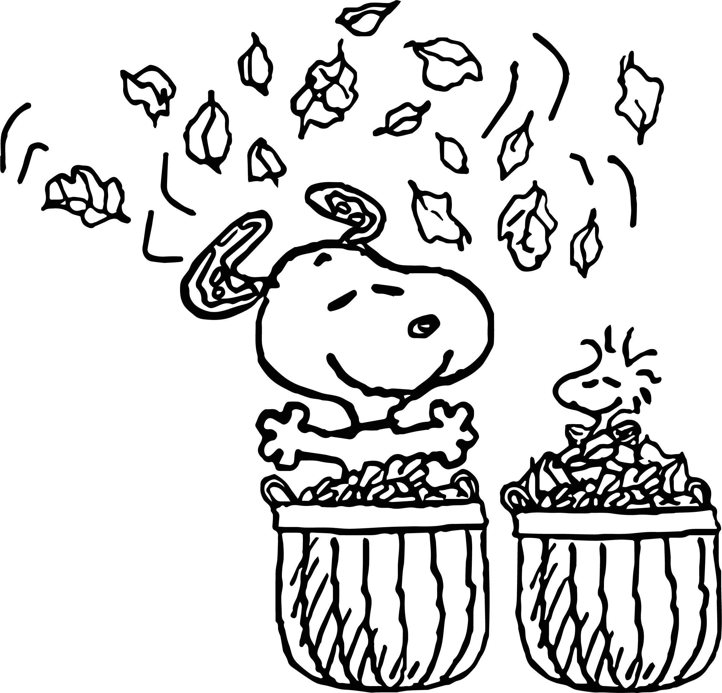 Nice Fall Snoopy And Bird Happy Coloring Page