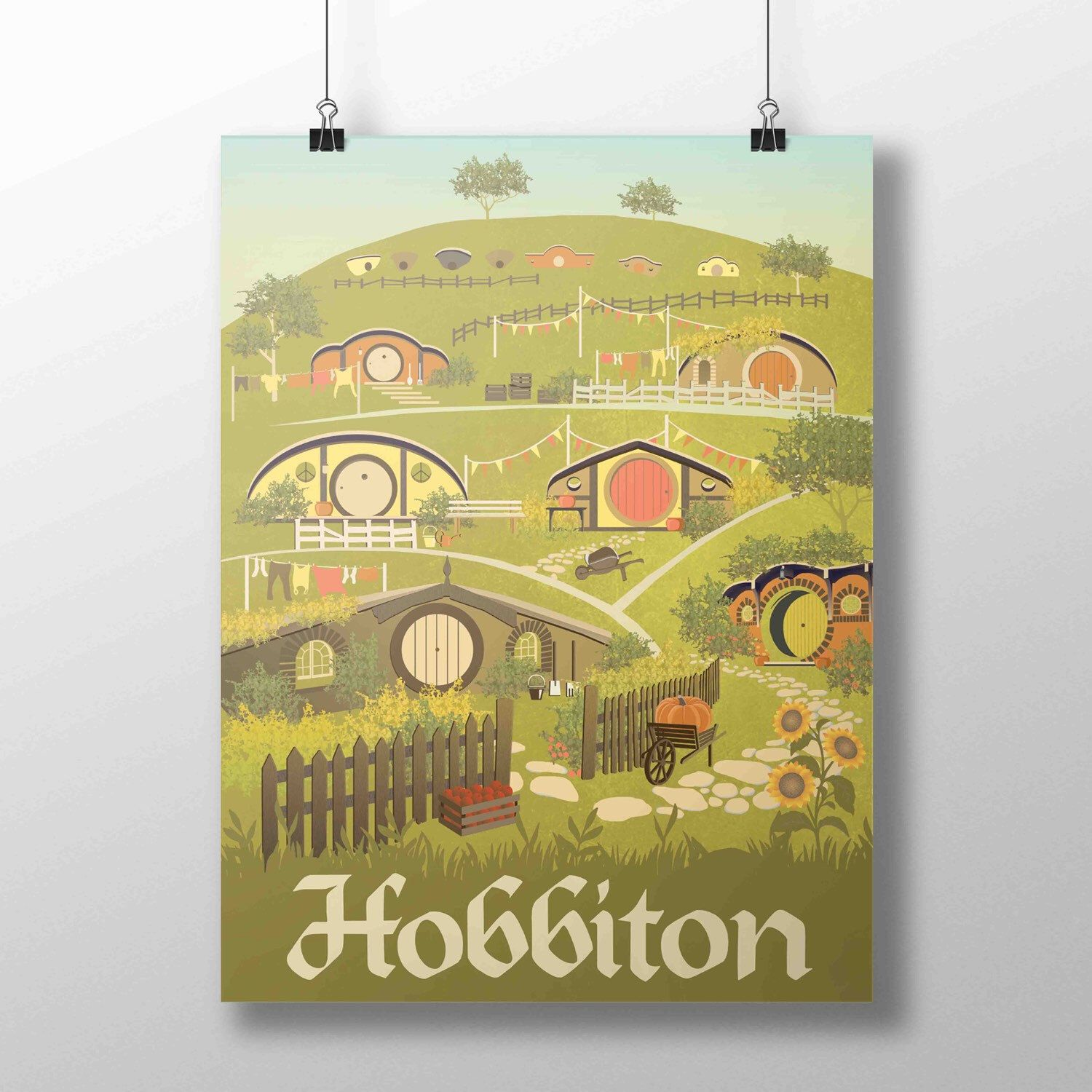 New Lord of the Rings poster! Hobbiton village in a retro travel style.